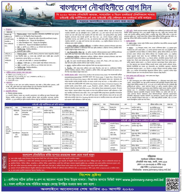 Bangladesh navy job circular August 2020