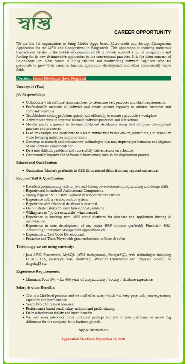 Swosti Limited Job Circular August 2020