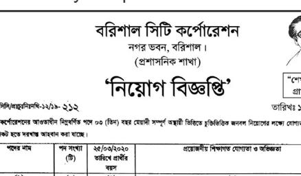 Barishal City Corporation Job Circular 2020