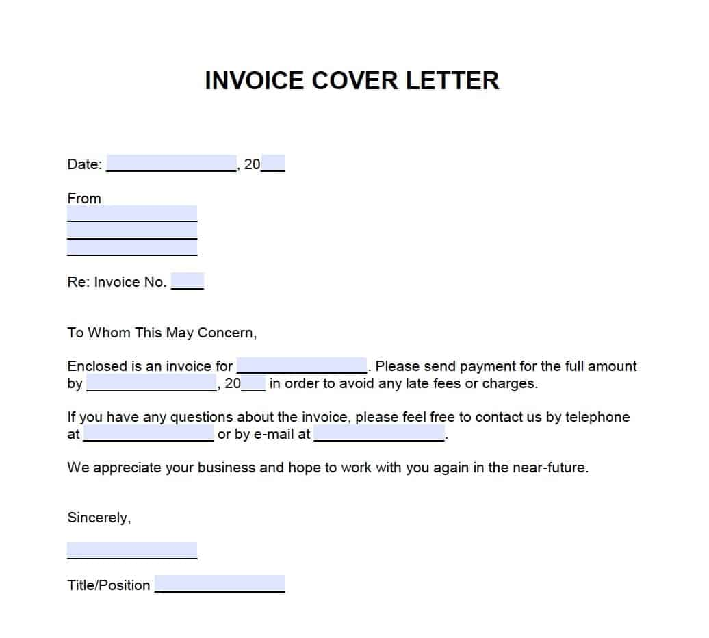 Invoice Cover Letter Template Onlineinvoice Com