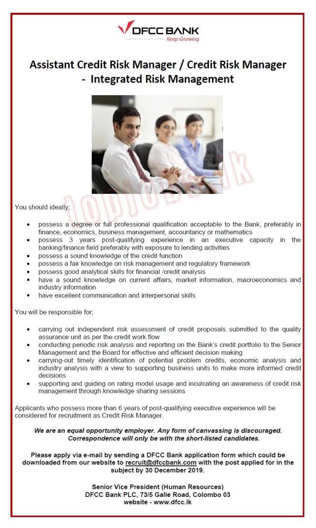 Assistant Credit Risk Manager / Credit Risk Manager - Integrated Risk Management