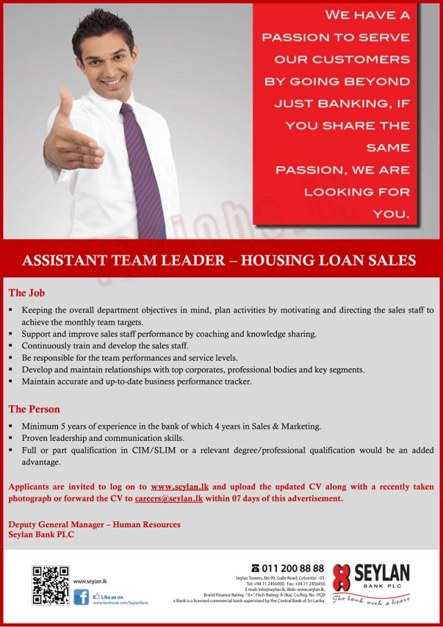 Assistant Team Leader  - Seylan Bank Job Vacancies