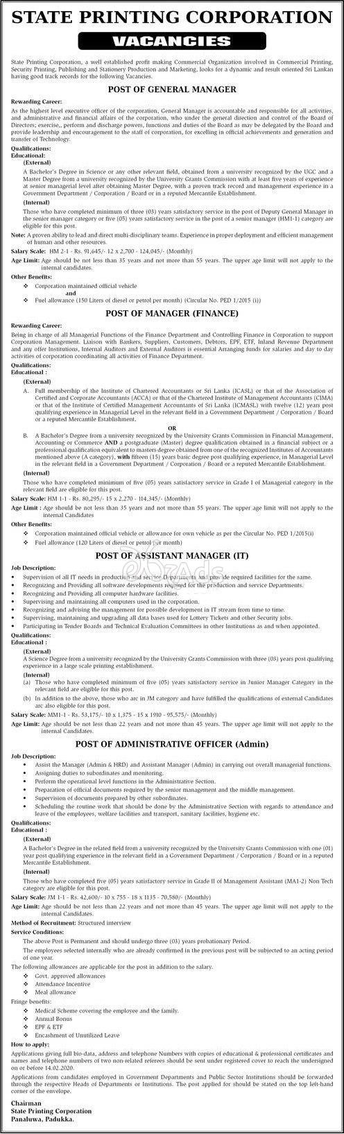 General Manager, Manager, Assistant Manager, Administration officer - State Printing Corporation Jobs 2020