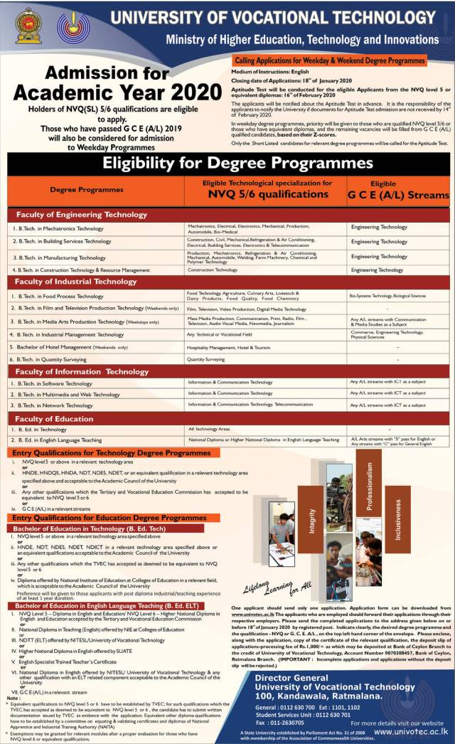 Admission for Academic Year 2020 - University of Vocational Technology