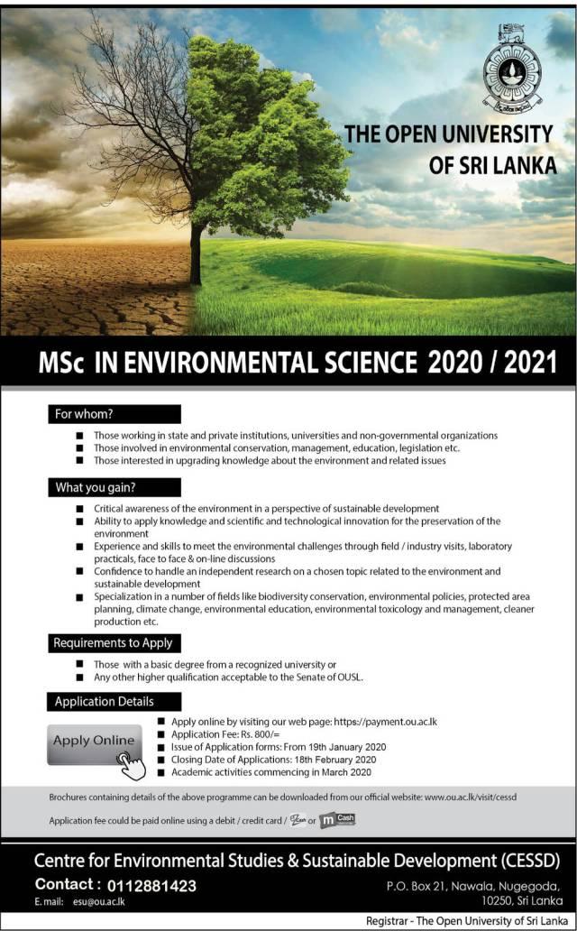 MSc in Environmental Science (2020/2021) - The Open University of Sri Lanka