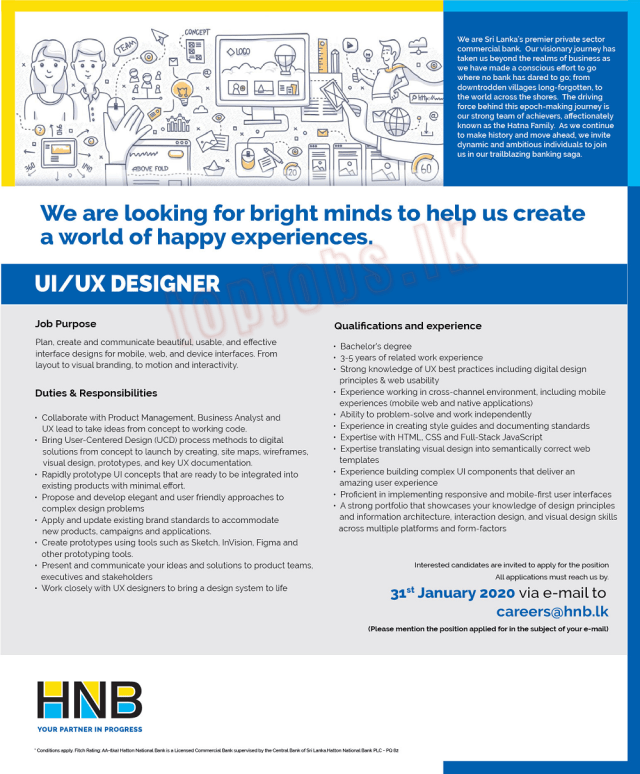 UI / UX Designer - HNB Bank Job Vacancies 2020