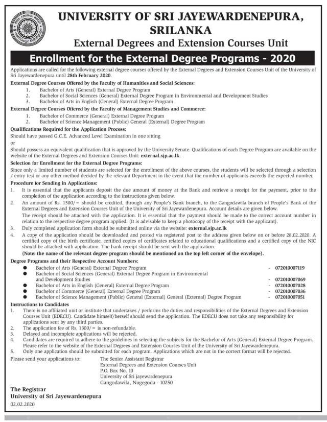 Enrollment for the External Degree Programs (2020) - University of Sri Jayewardenepura