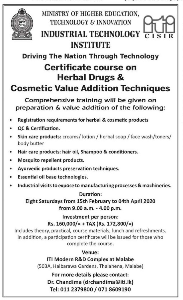Certificate Course on Herbal Drugs & Cosmetic Value Addition Techniques - Industrial Technology Institute