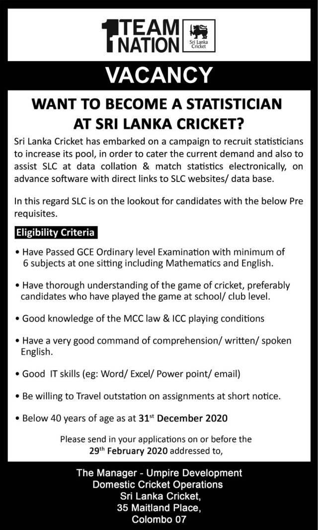 Statistician -Sri Lanka Cricket (Team Nation) Job vacancies 2020