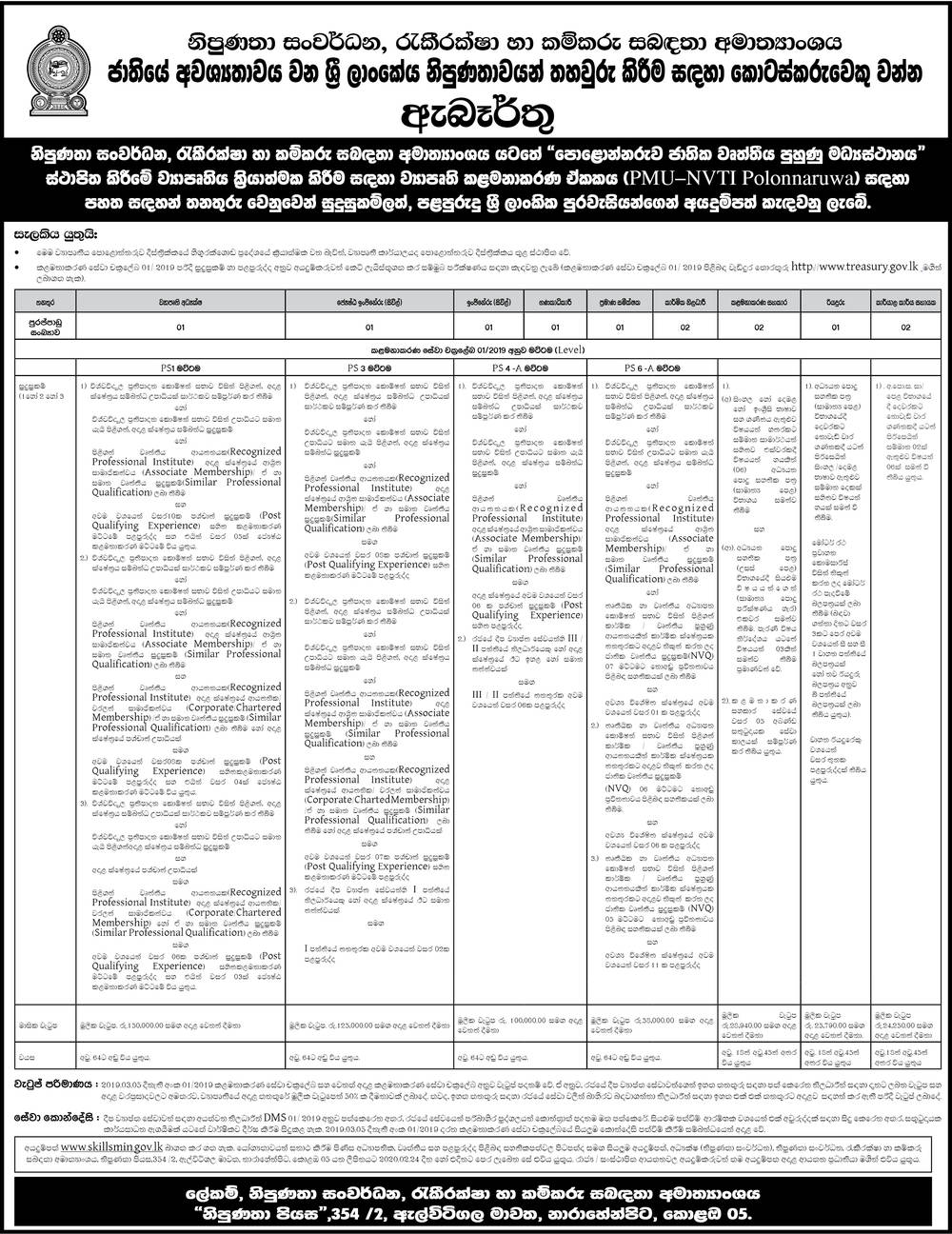 Ministry of Skills Development,Employment and labor Relations Jobs