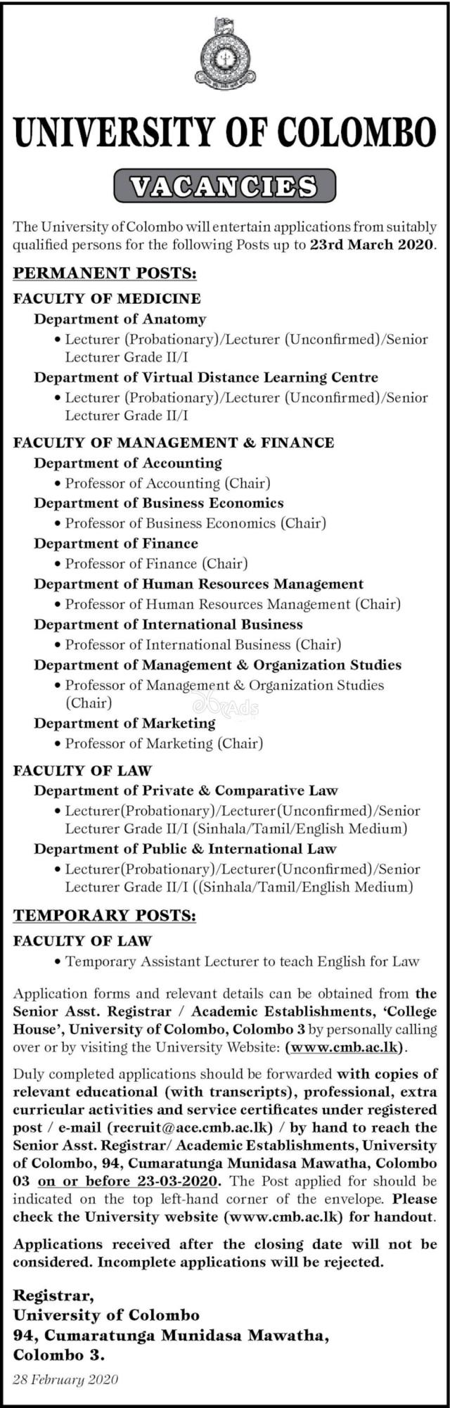 Professor, Senior Lecturer, Lecturer - University of Colombo