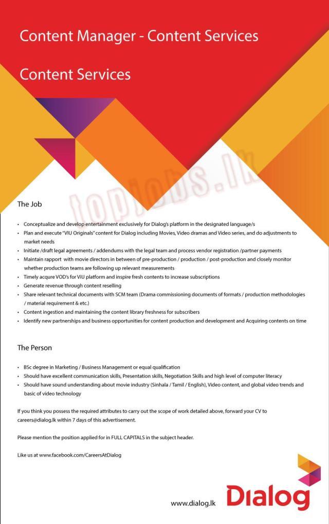 Content Manager : Content Services- Dialog Axiata Job vacancies