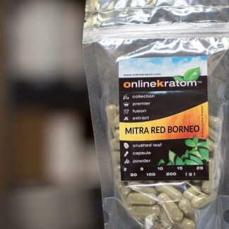 Package of Kratom Capsules for the Mitra Red Borneo