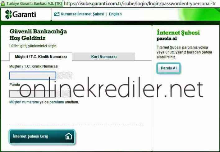 garanti bankasi online kredi basvurusu ekrani