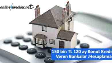 Photo of 150 bin TL 120ay Konut Kredisi Hesaplama-Ödeme Planı
