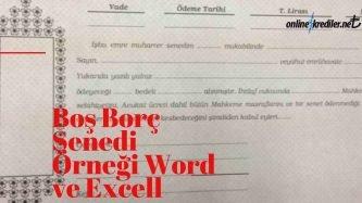 boş senet örneği word excell