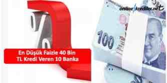 en düşük faizli 40 bin tl kredi