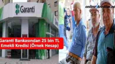 Photo of Garanti Bankasından 25 Bin TL Emekli Kredisi (Örnek Hesap)