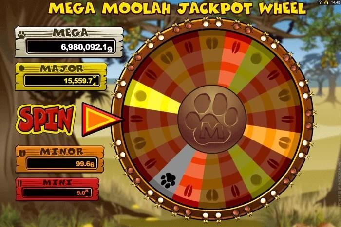 Na obrazku widać Bonus Meha Moolah, czyli koło fortuny. RTP Mega Moolah wynosi 94%.