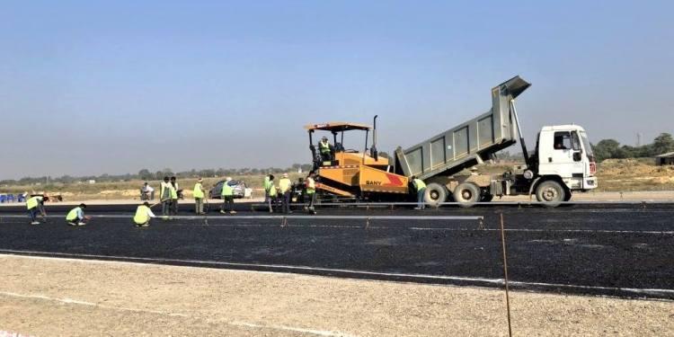 Blacktopping Of Gautam Buddha International Airport'S Runway Begins