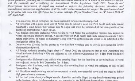 DOI : Urgent Notice Regarding Travel Restriction in Nepal