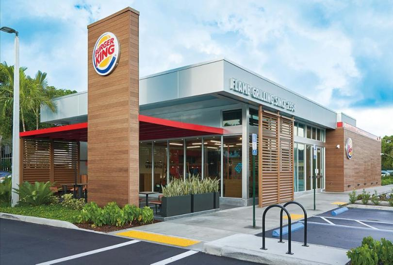 A Burger King restaurant with the brand's new look.