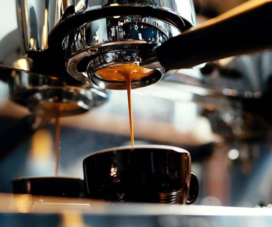espresso machine making a latte