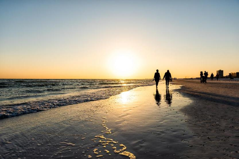 Sunset sun in Siesta Key, Sarasota, Florida.