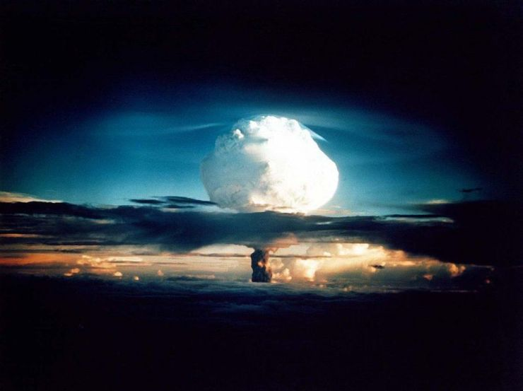 Nuclear weapon test Mike (yield 10.4 Mt) on Enewetak Atoll. The test was part of the Operation Ivy.... [+] Mike was the first hydrogen bomb ever tested. A release of this much energy corresponds to approximately 500 grams of matter being converted into pure energy: an astonishingly large explosion for such a tiny amount of mass. Nuclear reactions involving fission or fusion (or both, as in the case of Ivy Mike) can produce tremendously dangerous, long-term radioactive waste.