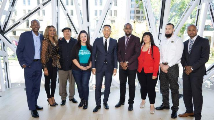 John Legend with the second cohort of participants in Unlocked Futures.