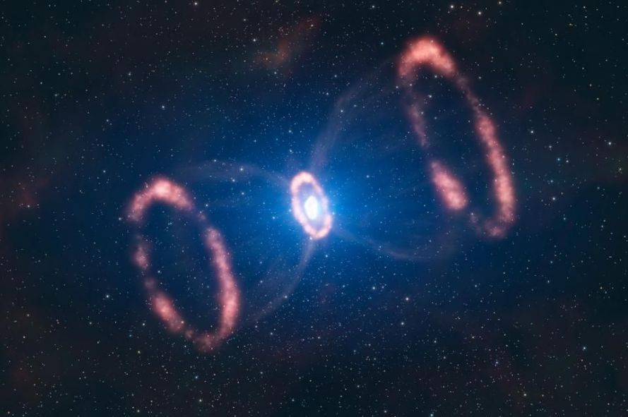 A supernova explosion enriches the surrounding interstellar medium with heavy elements. The outer... [+] rings are caused by previous ejecta, long before the final explosion. This explosion also emitted a huge variety of neutrinos, some of which made it all the way to Earth.