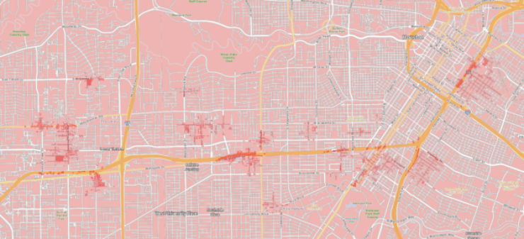 "Verizon's 5G Houston coverage as of December 2019, with 5G ""Ultra Wideband"" in dark pink. For an idea of how much of the Houston metro this covers, you can zoom out from the same location at <a href=""https://www.google.com/maps/place/Houston,+TX/@29.733833,-95.429167,14z/data=!4m5!3m4!1s0x8640b8b4488d8501:0xca0d02def365053b!8m2!3d29.7604267!4d-95.3698028"">this Google Maps link</a>."
