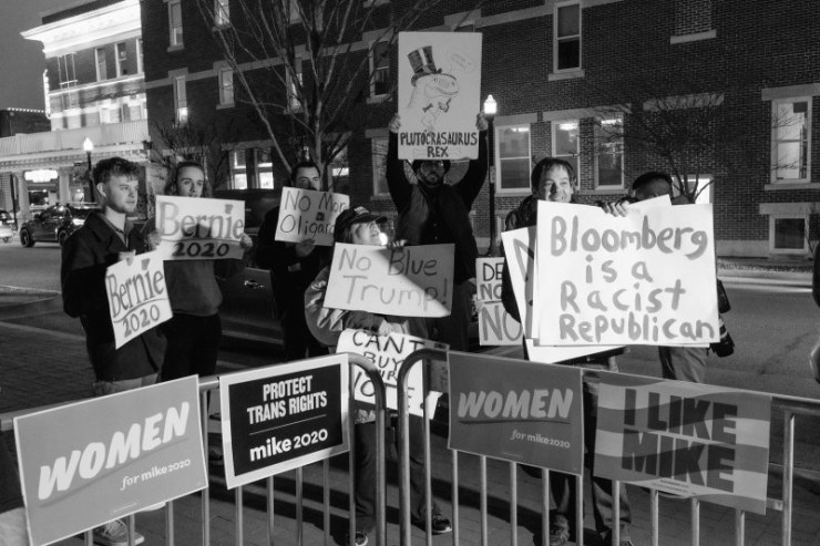 Bernie Sanders' supporters protest outside of a Bloomberg rally in Bentonville, Ark., on Feb. 27.