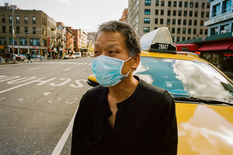 """Kim Jaemim, 58, Taxi Driver, Manhattan. As business has plummeted, so has the civility of the customers who enter Kim's cab. """"We face a lot of crazy, racist people,"""" says the South Korean driver (bottom far right). """"The yellow-cab driver is an essential employee, but I don't think the city respects us like doctors and nurses, the police, the subway workers. They never talk about the yellow-cab drivers risking their lives. We move the city."""""""