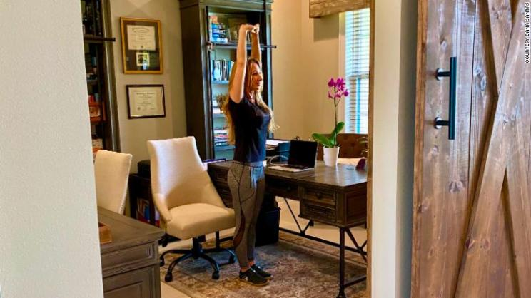 Create a habit of getting out of your chair every hour for a few minutes of movement. Stretches relieve stiffness and mitigate the negative health impacts caused by sitting all day long.
