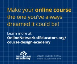 CDA-Facebook graphic with logo and text that says 'Make you online course the one you've always dreamed it could be!' - Click for download.