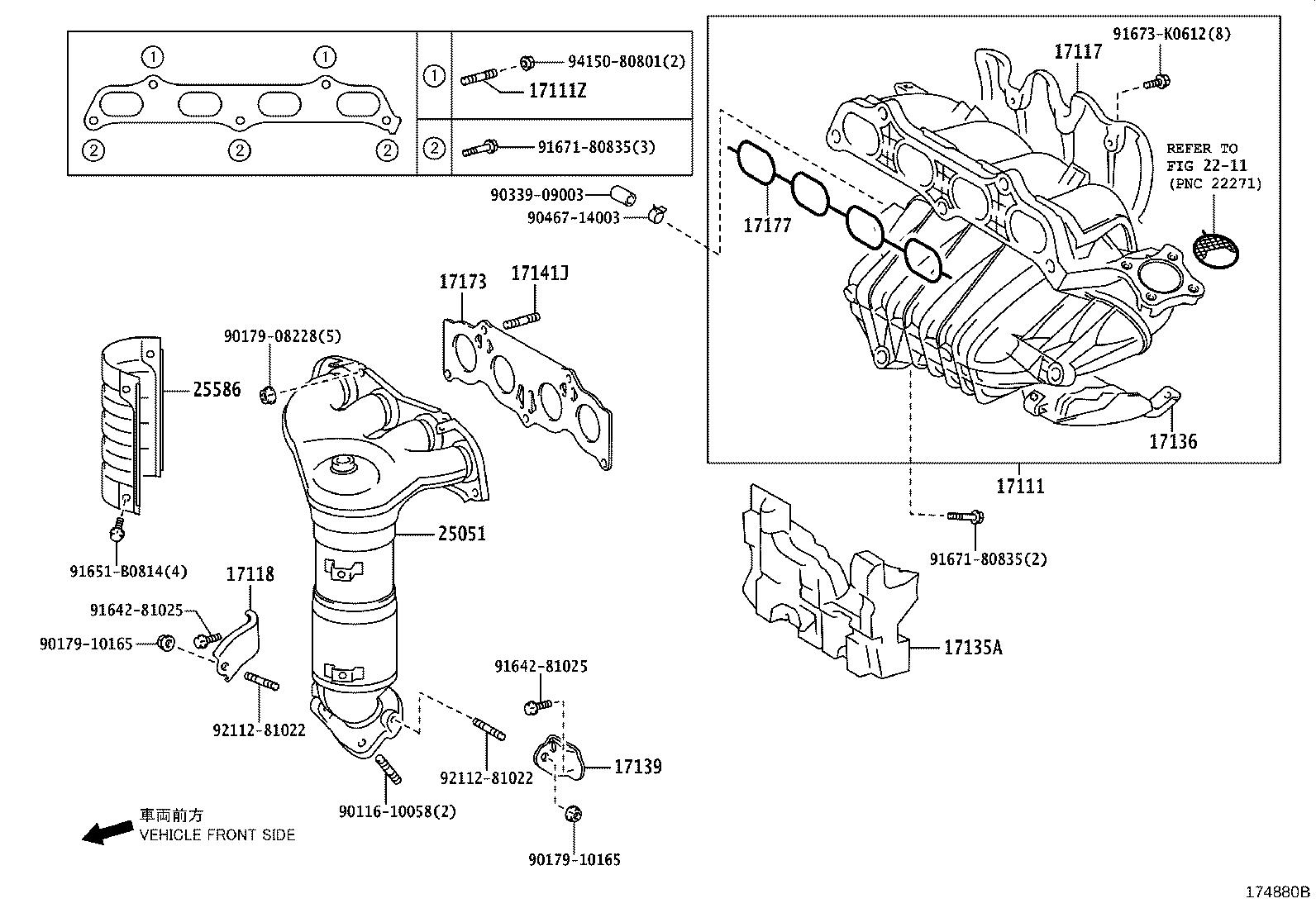 Toyota Camry Converter Sub Assembly Exhaust Manifold