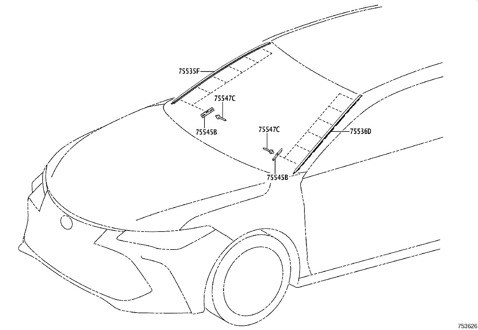 Toyota Avalon Windshield Molding Clip