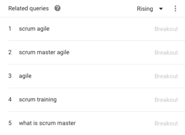 Search Volumes for Project Management and Agile methodologies