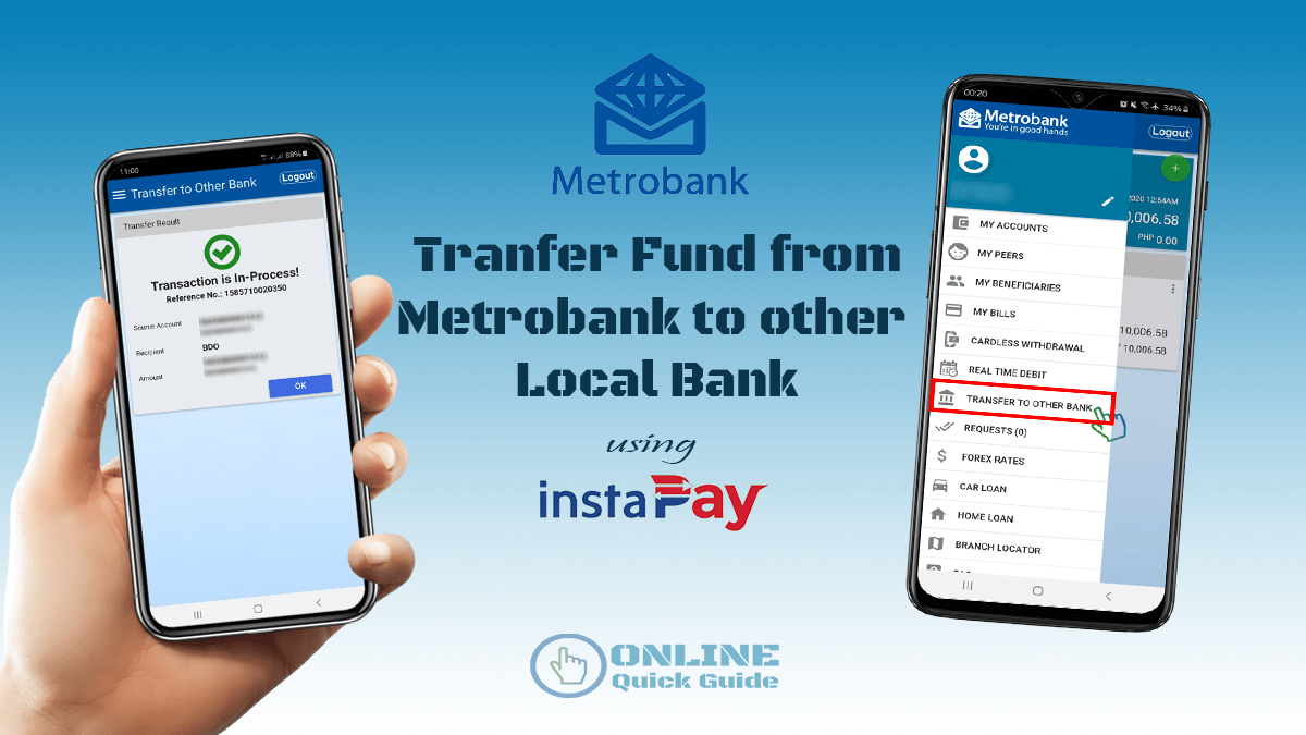 How to transfer fund from Metrobank to other Local Bank via InstaPay |  Online Quick Guide