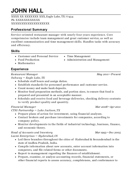 Subway Restaurant Manager Resume Sample Resumehelp