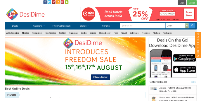 Online shopping discounts in India