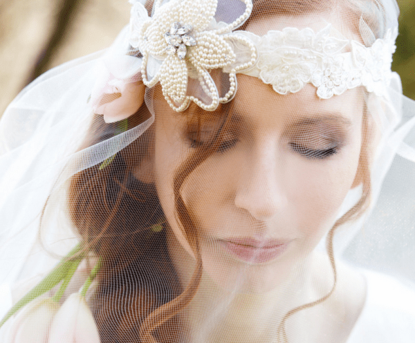 pearl flower lace veil
