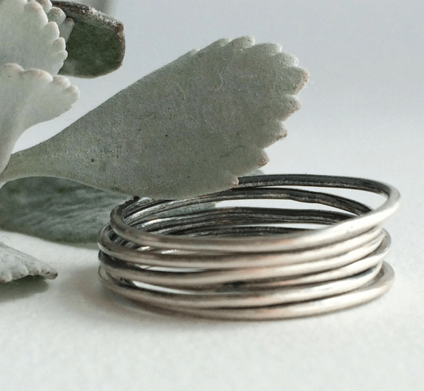 raw silver stackable rings