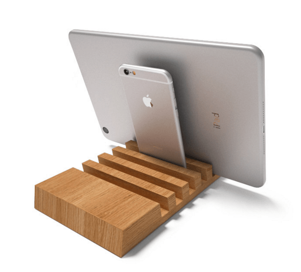 wood charging station for multiple devices