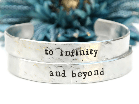 to infinity and beyond silver cuff bracelets