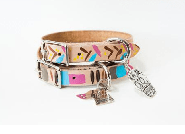 vegan leather hand painted dog collar