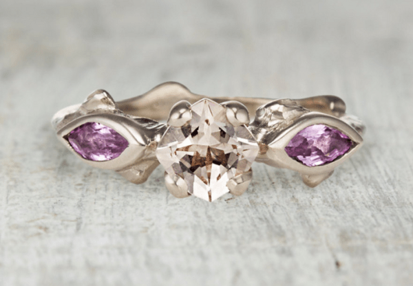 Rose Gold Morganite Ring White Gold with Pink Morganite and Pink Sapphires