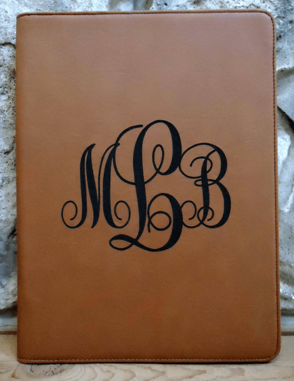 Zippered Personalized Leather Portfolio with Monogram