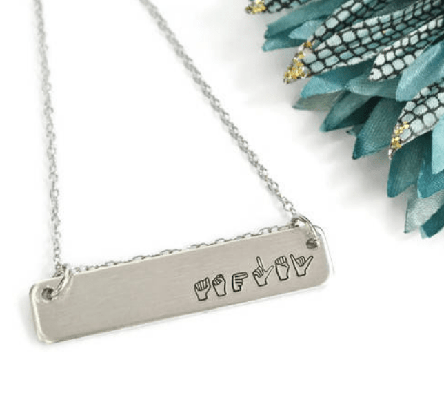sign language name necklace silver on Etsy